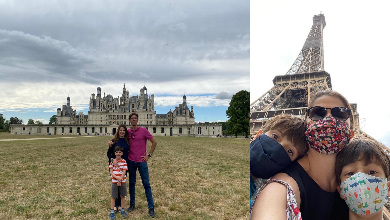Giovana Zanato e Gustavo Fleury com os filhos no castelo de Chambord e na Torre Eiffel. Eles visitaram os pontos turísticos no pós-quarentena.