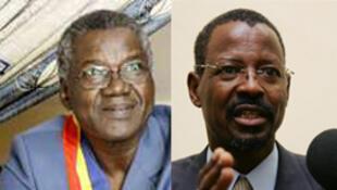 Gali Ngoté Gata (G) candidat à la présidentielle tchadienne et -Mahamat Hissein (D) porte-parole du président candidat Idriss Deby.