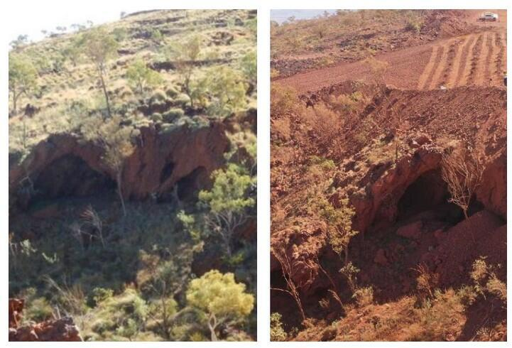Juukan Gorge rock shelters in 2013, Western Australia (L) before explosions in May 2020 (R)