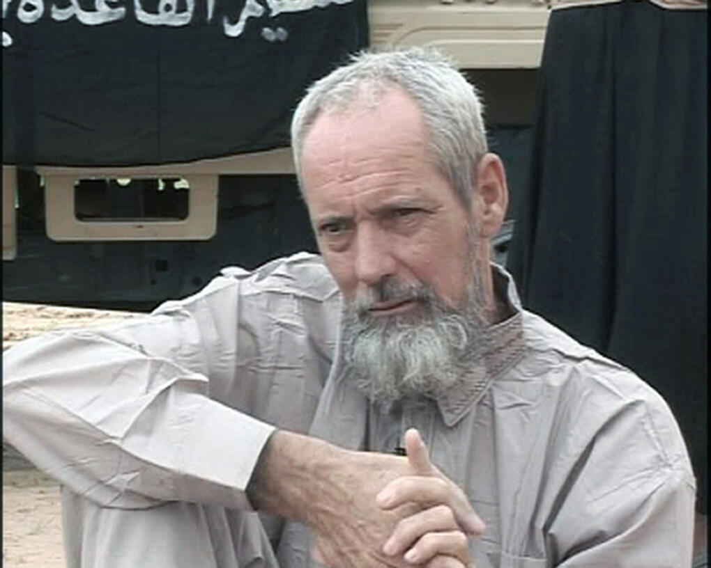 O holandês Sjaak Rijke, em uma imagem de vídeo divulgada pelo grupo Aqmi em novembro de 2014.