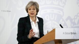 英国首相特蕾莎·梅在发表演说。