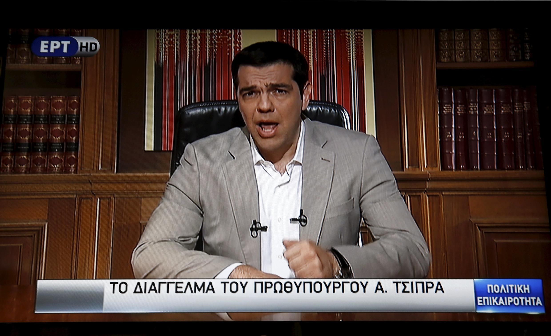 Thủ tướng Hy Lạp Tsipras ngỏ lời với dân Hy Lạp trên đài truyền hình ngày 28/06/2015.