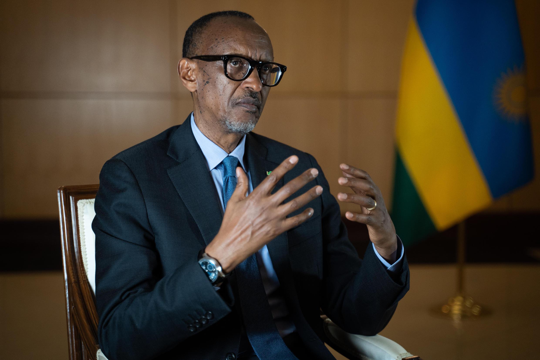 El presidente de Ruanda, Paul Kagame, durante la entrevista con medios internacionales en Kigali, el 28 de mayo de 2021
