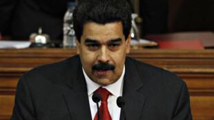 Nicolas Maduro, le vice-président du Venezuela lors de son discours devant l'Assemblée nationale, le 15 janvier 2013.