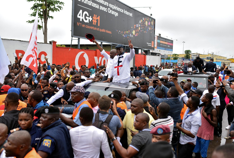 Vital Kamerhe na Félix Tshisekedi  wakikaribishwa katika jiji kuu Kinshasa siku ya Jumanne Novemba 27 2018