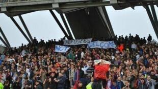 Болельщики футбольного клуба «Олимпик Лион» в субботнем матче вывесили баннер Refugees not welcome («Беженцам здесь не рады»), 12 сентября 2015.