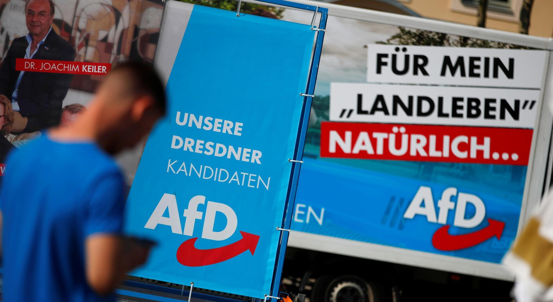 Campagne électorale du parti d'extrême droite allemand Alternative à l'Allemagne (AFD) à Dresde, en Allemagne, le 25 août 2019.