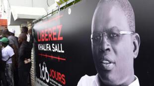 Affiche pour la libération de Khalifa Sall, maire de Dakar et élu député en juillet dernier alors qu'il était en prison.
