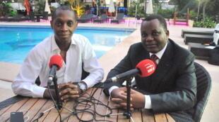 Claudy Siar et Jean-Claude Gakosso à l'Hôtel Olympic de Brazzaville.