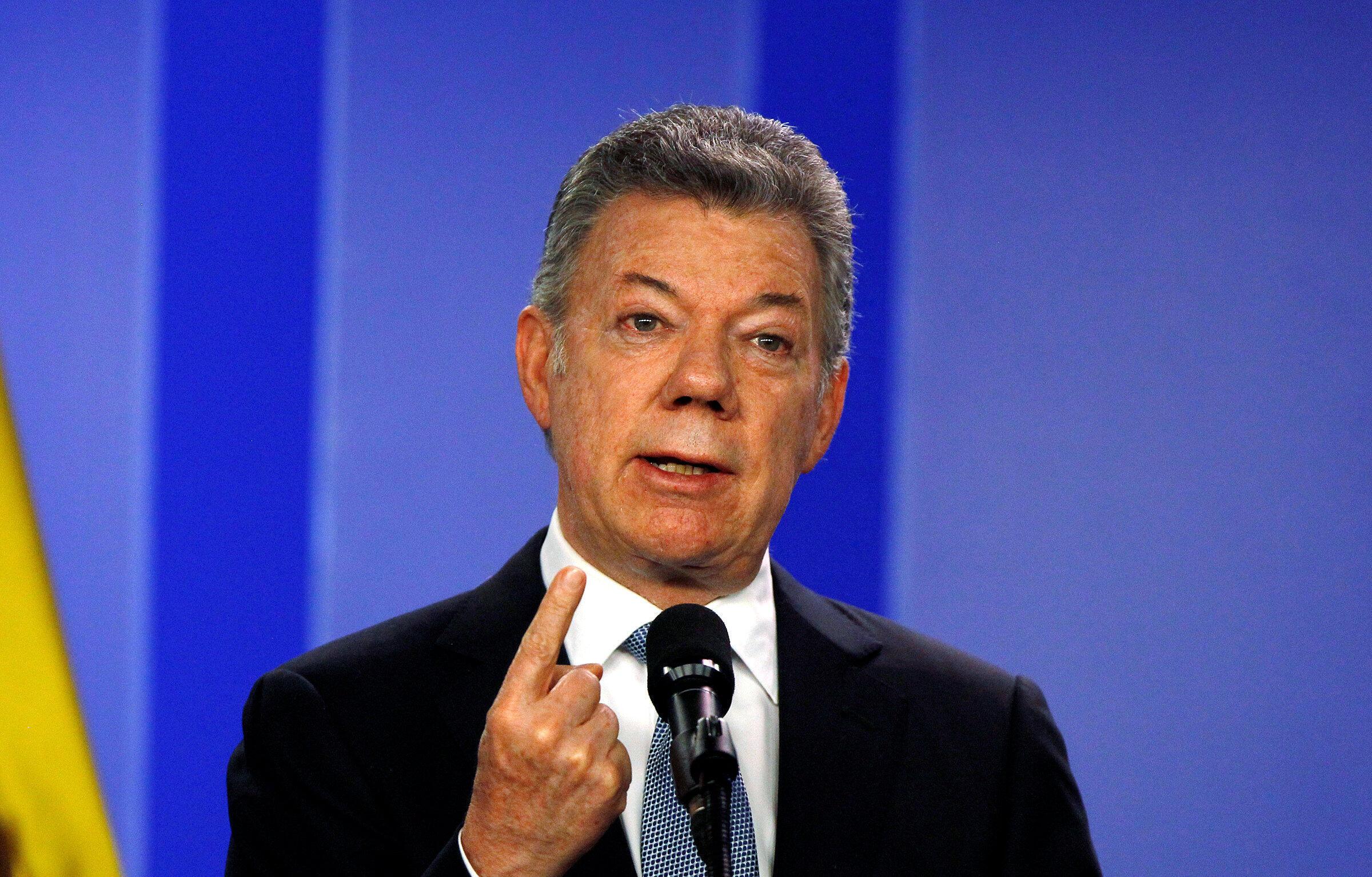 Colombia's outgoing President Juan Manual Santos