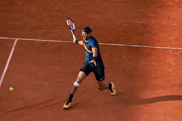 El argentino Juan Martin Del Potro durante su encuentro de octavos de final en Roland Garros, que acabó perdiendo frente al ruso Karen Khachanov (7/5 6/3 3/6 6/3) el 2 de Junio de 2019.