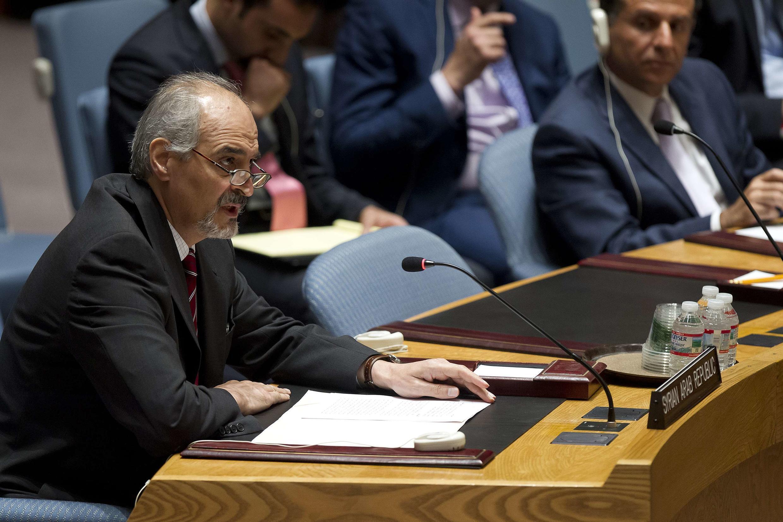 Ông Bashar Jaafari, Đại diện thường trực của Syrie tại Liên Hiệp Quốc, đọc diễn văn, sau khi Hội đồng Bảo an ra nghị quyết trừng phạt các nhân vật trụ cột của Nhà nước Hồi giáo tại Syria và Irak, New York, 15/08/2014.