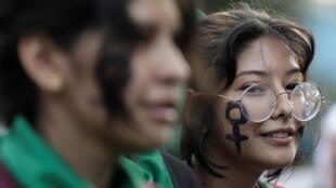 Manifestation de femmes à Lima au Pérou, le 7 mars 2020.