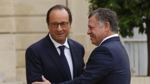 François Hollande et Abdallah II de Jordanie à l'Elysée à Paris, le 17 septembre 2014.