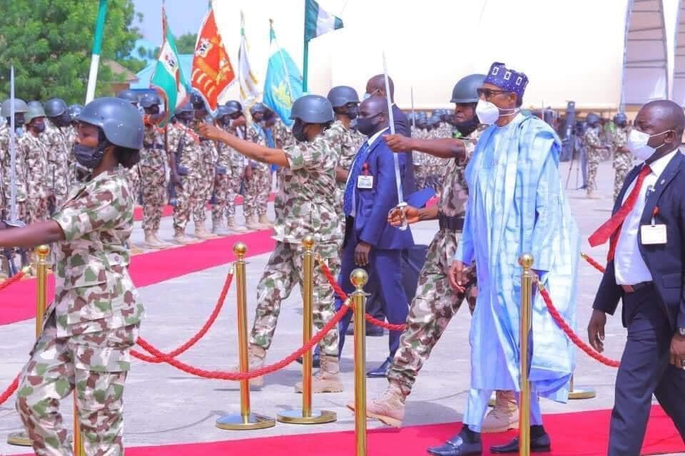 Shugaban Najeriya Muhammadu Buhari yayin ziyararsa a birnin Maiduguri na jihar Borno.