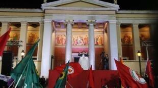 Alexis Tsipras, le leader de Syriza, le parti de la gauche radicale, après sa victoire aux élections législatives, le 25 janvier 2015.