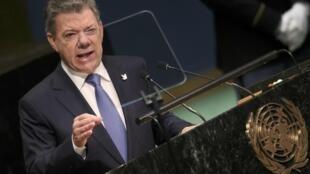 El presidente colombiano Juan Manuel Santos durante su discurso en la 71° Asamblea General de la ONU, este 21 de septiembre de 2016 en Nueva York.