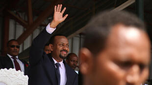 Ethiopia's newly elected prime minister Abiy Ahmed waves to the rally during his visit to Ambo in the Oromiya region, Ethiopia on 11 April 2018.