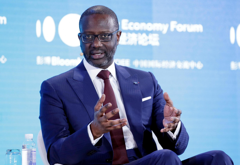 (illustration) Ex-PDG du Groupe Crédit Suisse, Tidjane Thiam, lors du Forum de la nouvelle économie 2019 à Pékin, en Chine, le 21 novembre 2019.