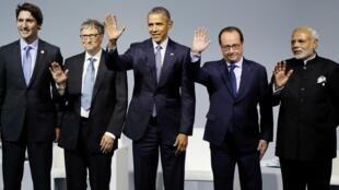 Da esquerda para direita: Bill Gates, Barack Obama, François Hollande e Narendra Modi primeiro ministro indiano.