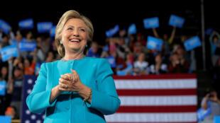 Hillary Clinton katika kampeni mjini Cleveland, Ohio, Novemba 6, 2016.