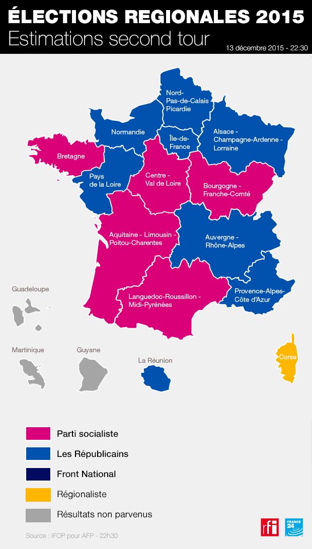 Novo mapa das regiões francesas: em azul as províncias ganhas pela direita, a cor de rosa as ganhas pelos socialistas.