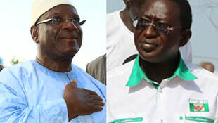 IBK (g.) et Soumaïla Cissé (d.), les deux candidats sortis en tête du premier tour de la présidentielle au Mali.