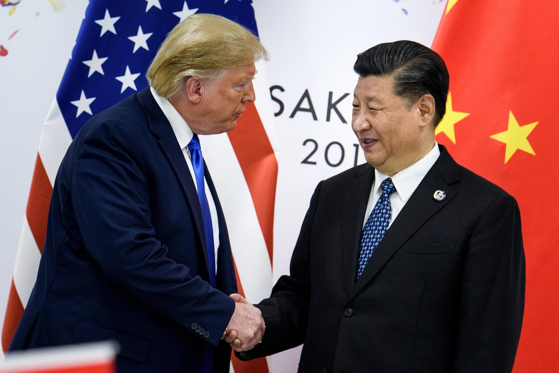 圖為美國總統特朗普與中國國家主席習近平