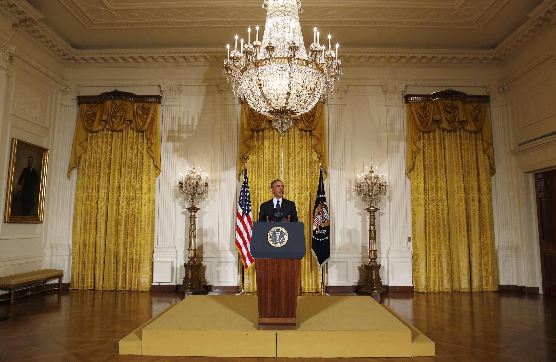 Após o escândalo da Receita Federal, Barack Obama fez um pronunciamento nesta quarta-feira, 15 de maio de 2013, na Casa Branca.