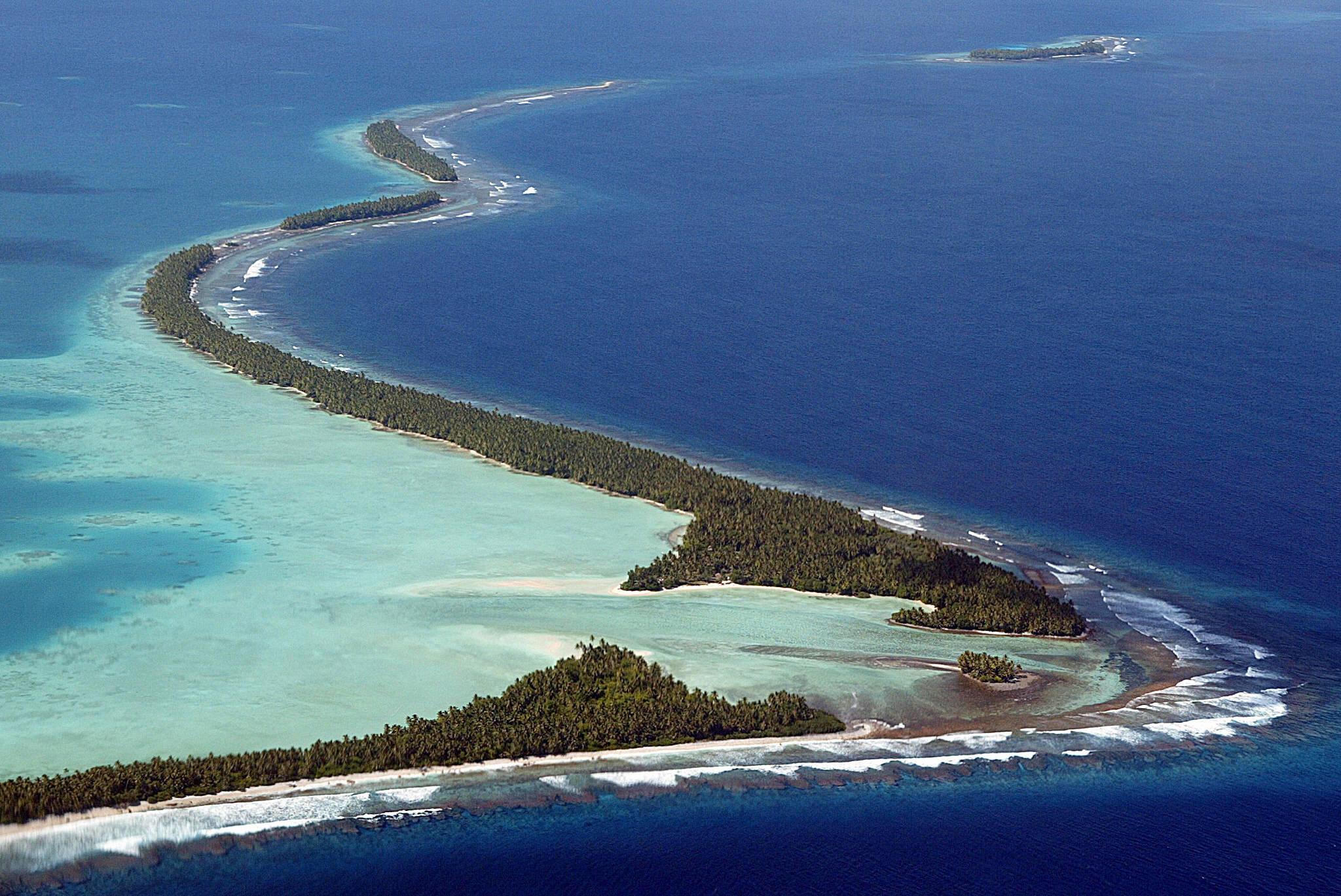 Parte do arquipélago de Tuvalu, que corre o risco de desaparecer em alguns anos.