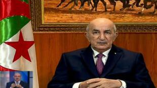 Le président Tebboune à la télévision algérienne. Le 18 février 2018.