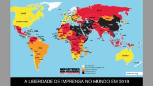نقشۀ رده بندی جهانی آزادی رسانهها در سال ٢٠١٨ که در روز ١٨ آوریل ٢٠١٩ از سوی سازمان گزارشگران بدون مرز منتشر شد