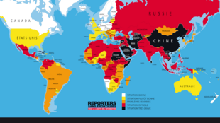 World press freedom map, Reporter Sans Frontière.