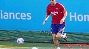 Lionel Messi à l'entrainement le lundi 7 septembre dernier.
