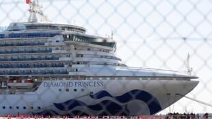 停靠在日本橫濱港的大型豪華郵輪--鑽石公主號 2020年2月11日