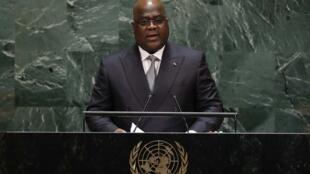 Le président du Congo, Félix Antoine Tshisekedi, a prononcé son premier discours devant la 74e Assemblée générale des Nations unies au siège des États-Unis à New York, le 26 septembre 2019.