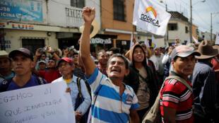 Des manifestants s'opposent à l'annonce du président guatémaltèque Jimmy Morales d'expulser du pays l'enquêteur de l'Onu Ivan Velasquez, qui a demandé la levée de son immunité présidentielle.