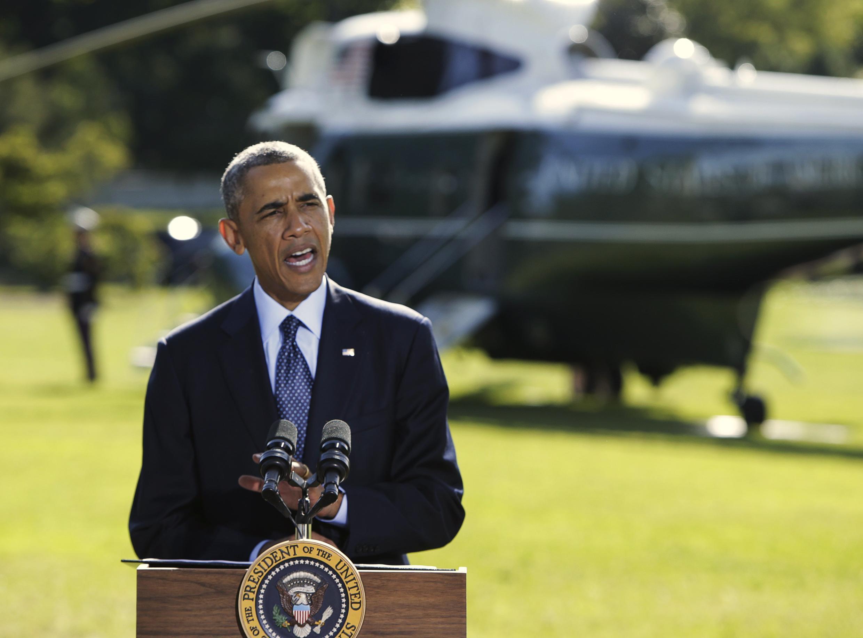 Tổng thống Mỹ Barack Obama phát biểu về việc oanh kích Syria ngày 23/09/2014, trước khi tham dự cuộc họp tại Liên Hiệp Quốc.