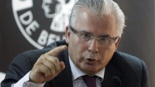 O espanhol Baltasar Garzón, advogado do fundador de Wikileaks,Julian Assange
