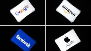Logotipos dos GAFA's, como é conhecido o grupo das multinacionais americanas de tecnologia e serviços relacionados à Internet Google, Amazon, Facebook e Apple.