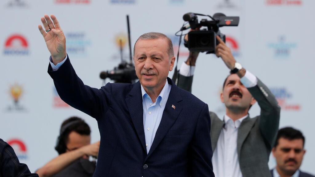Le président turc Tayyip Erdogan, lors d'un meeting à Istanbul, le 17 juin 2018.