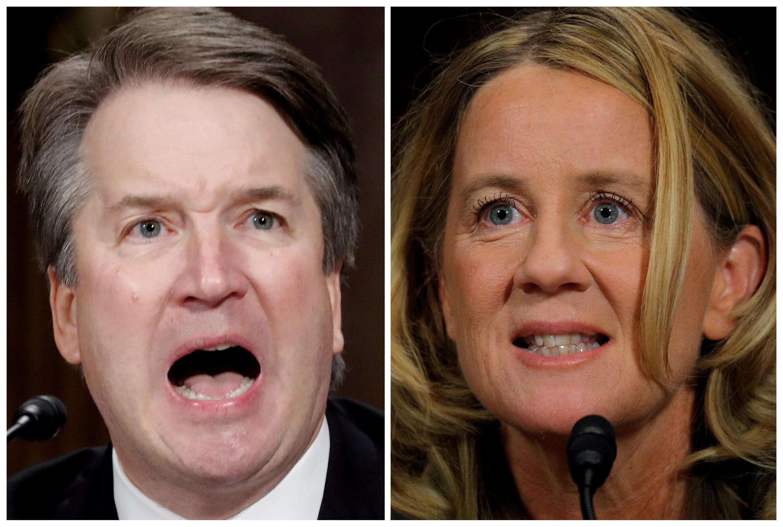 Ứng viên thẩm phán Tối Cao Pháp Viện Brett Kavanaugh (T) và giáo sư Christine Blasey Ford tại buổi điều trần ở Thượng Viện, Washington, Mỹ ngày 27/09/2018.