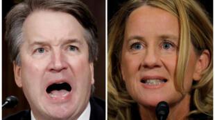 O candidato do Supremo Tribunal dos EUA Brett Kavanaugh e a professora Christine Blasey Ford prestam testemunho durante audiência no Comitê Judiciário do Senado no Capitólio em Washington, 27/09/18.