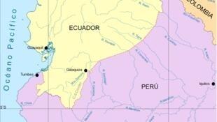 Map of Ecuador-Peru border