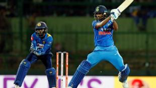 India's Bhuvneshwar Kumar plays a shot against Sri Lanka in the second ODI in Kandy.