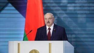 Le président biélorusse Alexandre Loukachenko, candidat à sa réélection après 26 ans de pouvoir, à Minsk le 4 août 2020.