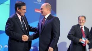 Франсуа Фийон и Владимир Путин на Валдайском форуме