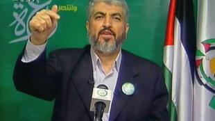 Khaled Mechaal, chef du bureau politique du Hamas, lors d'une interview télévisée à Damas  le 21 janvier 2009.