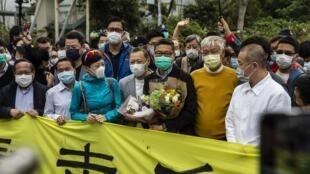 Manifestation de soutien à la libération de Chan Kin-man, l'un des leaders de la contestation pro-démocratie à Hong Kong, le 14 mars 2020.