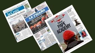Capa dos jornais franceses, La Croix, Le Figaro e Libération desta terça-feira, 12